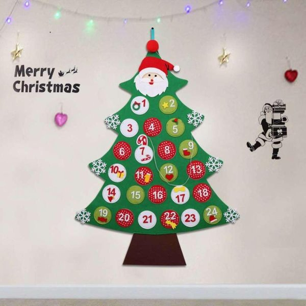 2018 DIY Felt Christmas Advent Calendar Date 1-24/1-31 Christmas Tree Shape Countdown Calendar Hanging Ornaments Home Decoration