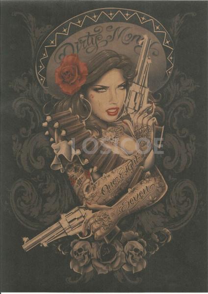 Señoras vaquero Nostálgico Retro Papel Kraft Tatuaje Diseño Posters Etiqueta de La Pared Pintura Antigua Colección de Decoración Interior