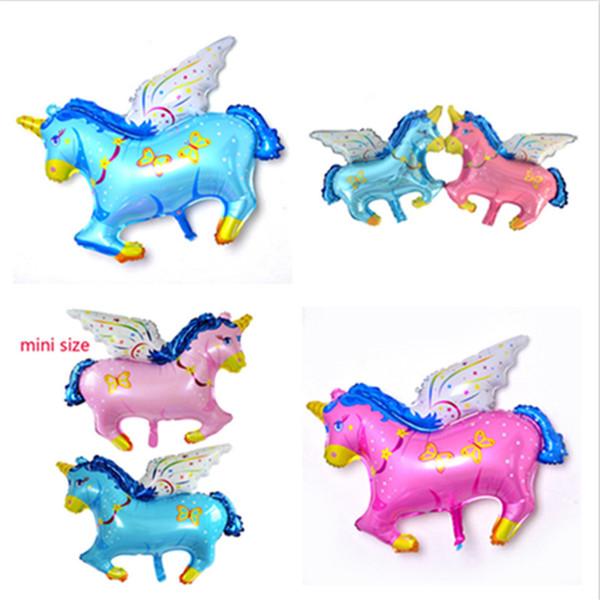 18 inç Unicorn Pegasus Balonlar Parti 45 * 38 CM Folyo Alüminyum Karikatür Unicornio Doğum Günü Balonlar Parti Düğün Yenilik dekorasyo ...