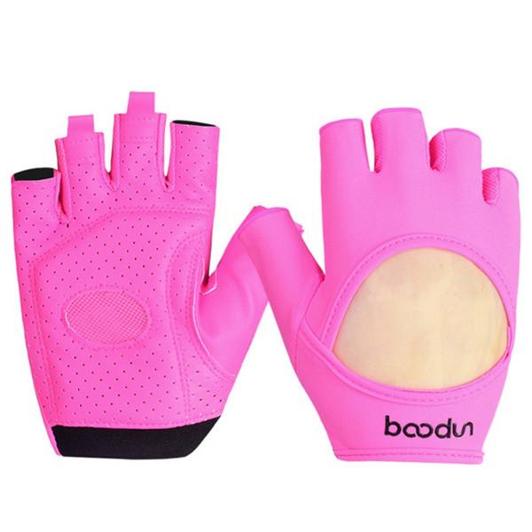 Women Fitness Gym Gloves Slip Resistant Lycra & Leather Gloves Sports Body Building Exercise Training Yoga Glove