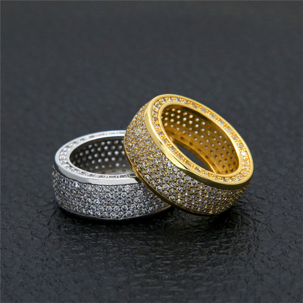 Hiphop Rapper Ring For Men 2018 New Fashion Hip Hop Gold Silver Ring Bling Cubic Zirconia Mens Ice Out Jewelry