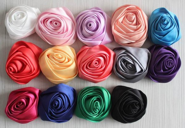 40pcs 8cm satin fabric rolled rose flowers for girls hair headband clothing outfit hair clip hairbow flower accessories