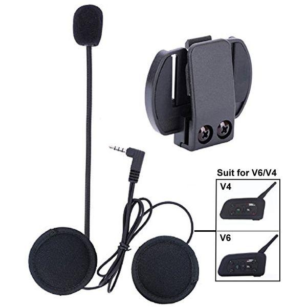 Micrófono Auricular Cable duro Auricular Clip Accesorio para V6 / V4 Casco de motocicleta Interfono Bluetooth Moto Intercomunicador