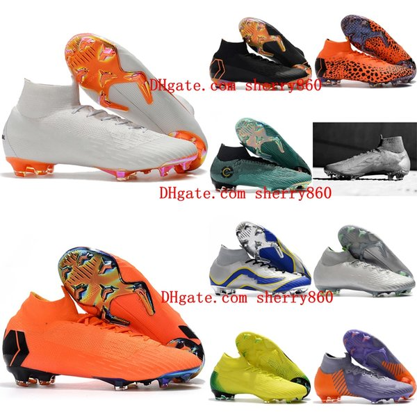2018 top quality mens soccer cleats Mercurial Superfly VI 360 Elite Ronaldo FG soccer shoes chaussures de football boots high ankle cheap