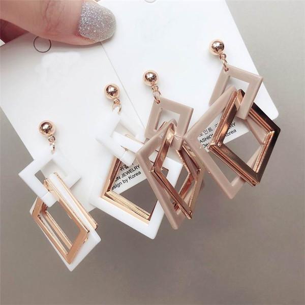 Geometric Square Acrylic Dangle Earrings For Women Statement Korean Fashion Street Accessories Drop Earrings Wholesale