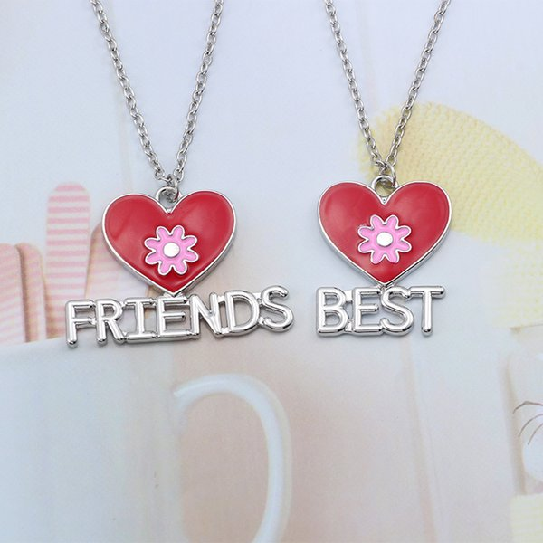 Fashion Trendy Best Friends Forever Necklace Pink Flower BFF Pendant For Women Red Love Heart Necklaces&Pendants Christmas Xmas Gift