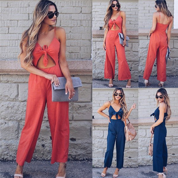 Brand New Women Deep V neck Sling Wide Leg Bodysuit Jumpsuit Trouser Long Jumpsuit Summer Clubwear Culottes