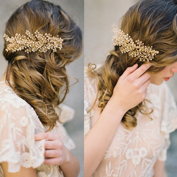 TUANMING Gold Crystal Bridal Hair Combs Handmade Gold Plant Crystal Bead Wedding Hair Stick Leaves Hair Accessories Hairwear New S926