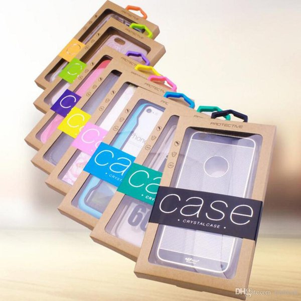 Retail Packaging Clear PVC Window Package Kraft Paper Packing Box for Cell Phone Case for iPhone 8 7 6 6S Plus X XS MAX XR Case