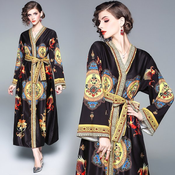 Autumn Dress Long Sleeve European Vintage Print Loose Cardigan Women Party Dresses