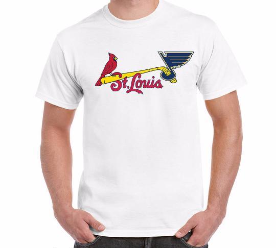 Сент-Луис вентилятор спортивные команды мужская футболка комбинированный логотип мэшап искусство подарок