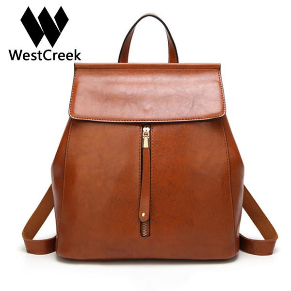 Westcreek Brand Women High Quality PU Anti Theft Backpack for Teenage Girls Bookbag Casual Female Shoulder Bags