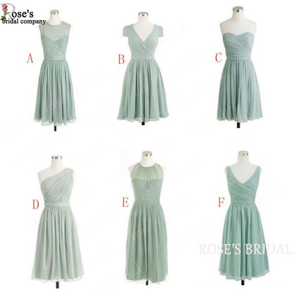 Sage Green Short Bridesmaid Dresses 2018 Chiffon Cheap Junior Custom Wedding Party Dresses Vestido De Madhina