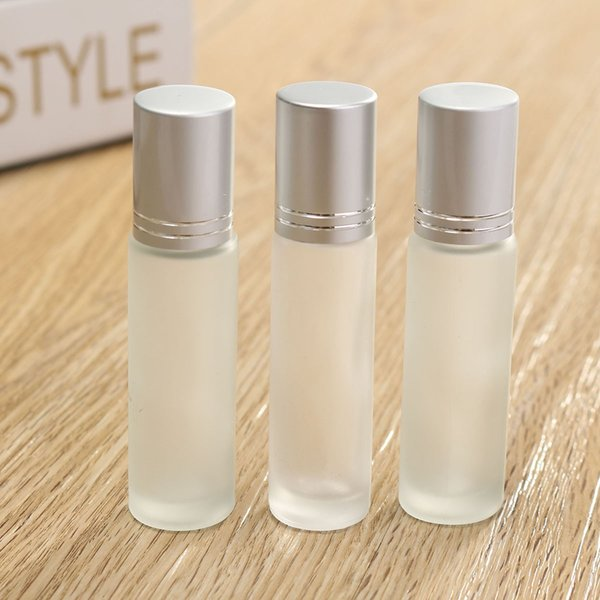 3pcs 10ml Clear Frosted Thick Glass Roll On Essential Oil Empty Perfume Sample Bottle 10cc Stainless Steel Roller Ball 2017
