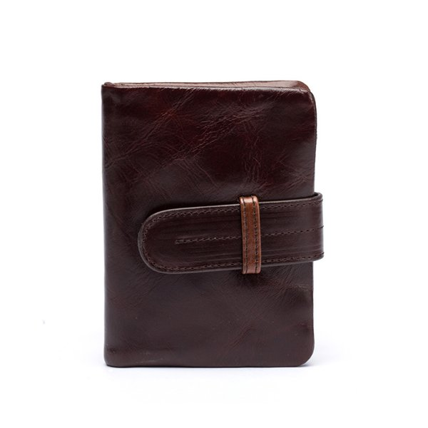 Men's leather short multi-card wallets Cross-section, vertical oil wax layer leather retro business wallet