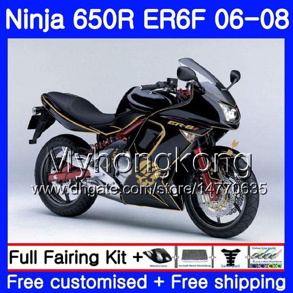 Glossy Black golden Body For KAWASAKI top NINJA 650R ER6 F 650 ER6F 06 07 08 204HM.6 Ninja650R ER-6F 06-08 ER 6F 2006 2007 2008 Fairings kit