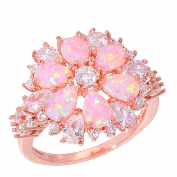 Created Pink Fire Opal White Cubic Zirconia Rose Gold Color Wholesale Hot Sell for Women Jewelry Ring Size 5-13