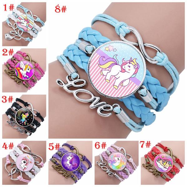 28 stili Unicorn Time Gem Stone Cabochon Heart Braccialetti Birthday Girl Bracelets for Women Girls Jewelry