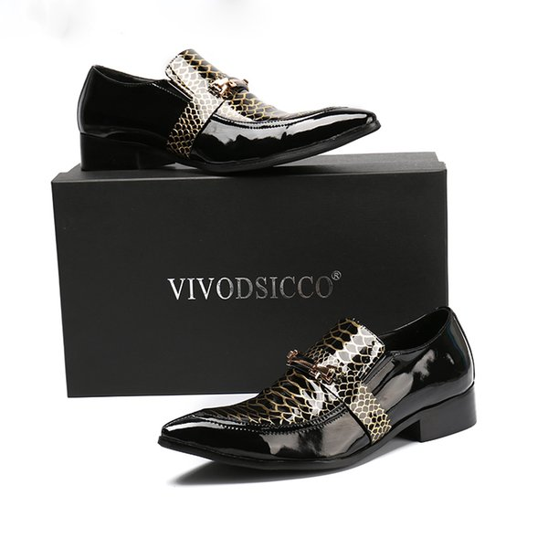 Новый Классический Бизнес Мужчины Платье Обувь Мода Человек Натуральная Лакированная Кожа Sanke Свадебные Туфли Социальные Sapato Мужская Обувь