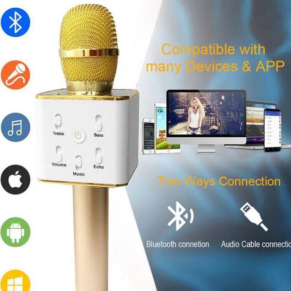 Handheld Q7 Microphone Magic KTV Wireless Speaker with Mic Handheld Loudspeaker Portable Karaoke Player bluetooth speakers For cell phone