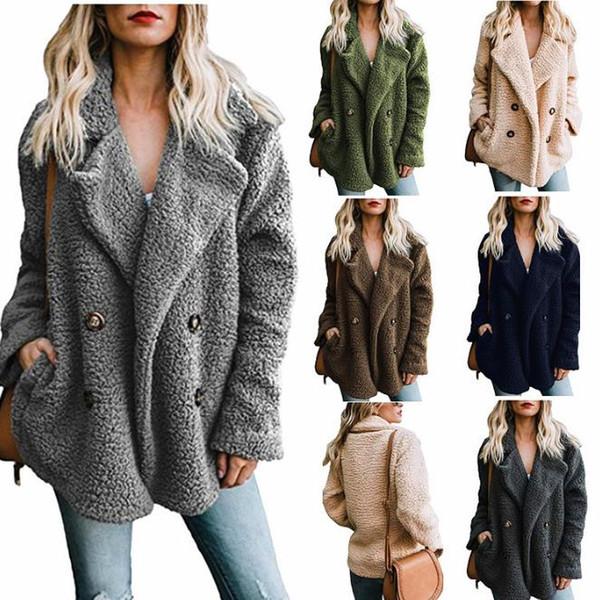 Frauen Winter Wollmischung Mäntel Revers Hals Zweireiher Jacken Schwarz Braun Khaki Warme Oberbekleidung Kostenloser Versand