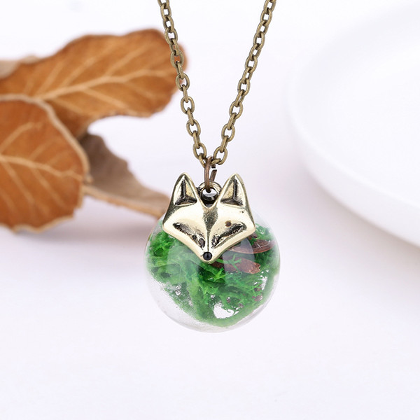 Fox Chain Necklace Fashion Cute Fox Seaweed Glass Ball Pendant Necklaces For Women Party Wedding Bridal Jewelry Seaweed Choker Necklace