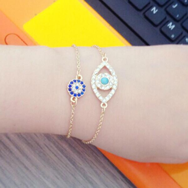 Bijoux de mode chaud 2 pcs / set Hamsa Fatima Main Eye Chanceux Charme Amour Bracelet Femmes Meilleur Ami Ethnique Bracelets Oeil Accessoires À La Main