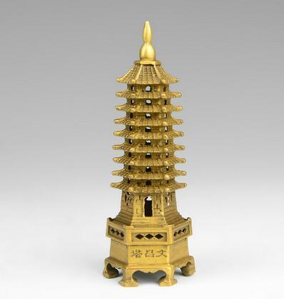chinese tibet buddhism temple brass Wenchang Tower chedi stupa Pagoda statue home decoration metal handicraft