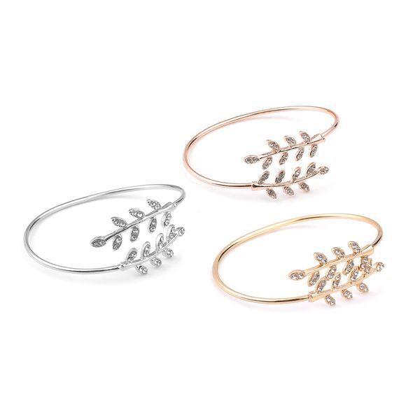 Bijoux de mode Bracelet Partie Strass Feuille Bracelets Réglable Ouverture Bracelet Bracelets Pour Femmes Fille Cadeau Livraison Gratuite