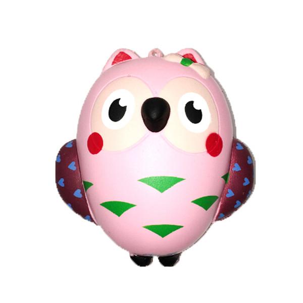 Squishy 13 cm Rose Hibou Jumbo Kawaii Squeeze Oiseau Animal Mignon Doux Lent Hausse Téléphone Strap Squeeze Break Enfants Jouet Soulager Anxiété cadeau 100pcs