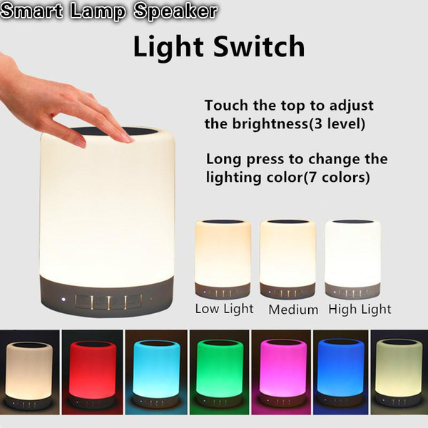 Cool Smart Lamp with Wireless Bluetooth Speaker Touch Colorful LED Tablet Lamp Music Loudspeaker Support TF Card/AUX with Mic for IPhone
