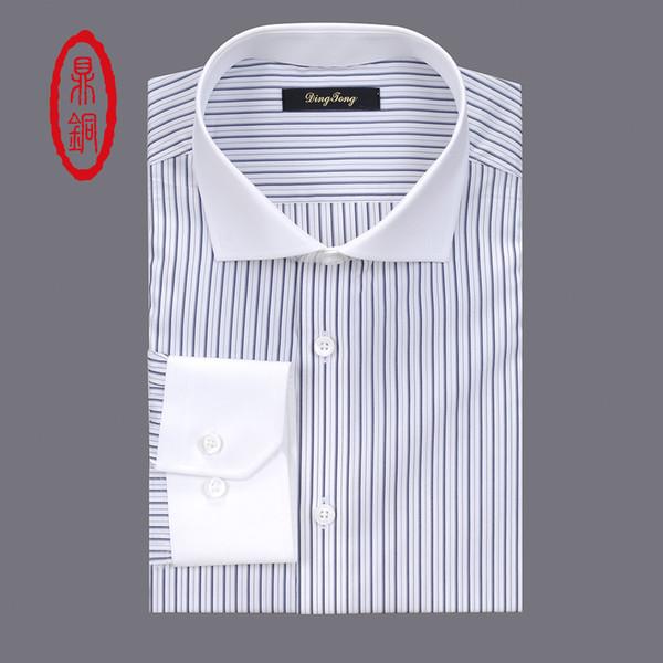 DINGTONG Uzun Kollu Custom Made Ipek Pamuk Elbise Gömlek Erkekler Gri Çizgili Resmi Gömlek 3 Fotoğraf Özelleştirmek Artı Boyutu Gömlek
