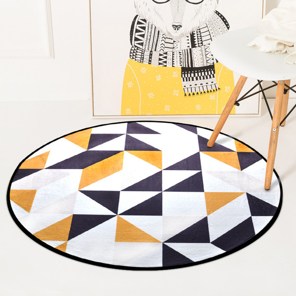 Colorful Geometric Printed Carpet Rugs Nordic Style Living Room Chair Computer Floor Mats Non-Slip Home Decor Round Bedroom Mat Blanket