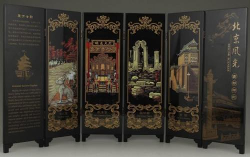 Handmade lacquer small screen ornaments painting / Beijing scenery