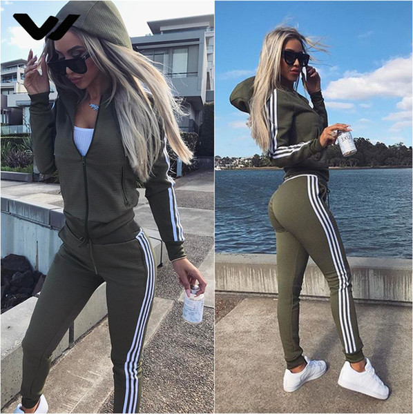 Autunno Inverno Yoga Set da donna Running Sportswear Run Tuta con cappuccio Zipper Army Green Running Tute da donna Pant + Coat