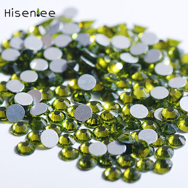 Sweet Shiny Beautiful Fantasy Olive Green Color Rhinestone Flat Round Shape Glass High Quality 3D Shiny Nail Art Decoration Tool
