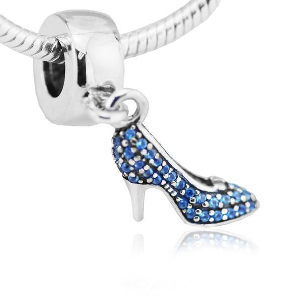 DIY se adapta a los encantos de las pulseras de Cinderella Sparkling Slipper Beads 100% 925 joyería de plata esterlina envío gratis