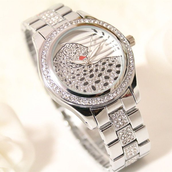 hot sell BS Brand fashion Lady rhinestone leopard Watch crystal Luxury Quartz Wrist Watch women Clock Relogio Feminino dropship 01