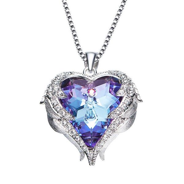 colar de coração do oceano para as mulheres feitas com cristais Swarovski colar banhado a platina para mulheres festa de casamento 'presente (azul roxo ABcolo) wholse