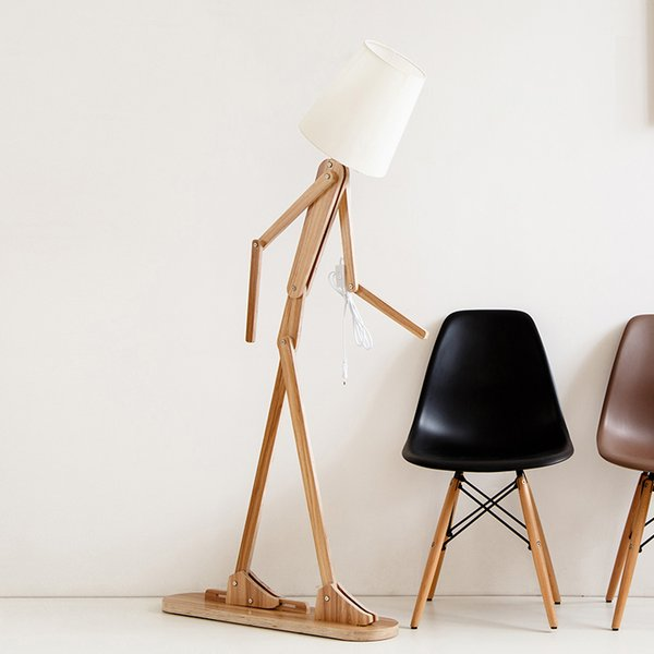 Japon Tarzı Yaratıcı DIY Ahşap Zemin Lambaları Nordic Ahşap Kumaş Oturma Odası Yatak Odası Çalışma Için Art Deco Standı Işık Deco