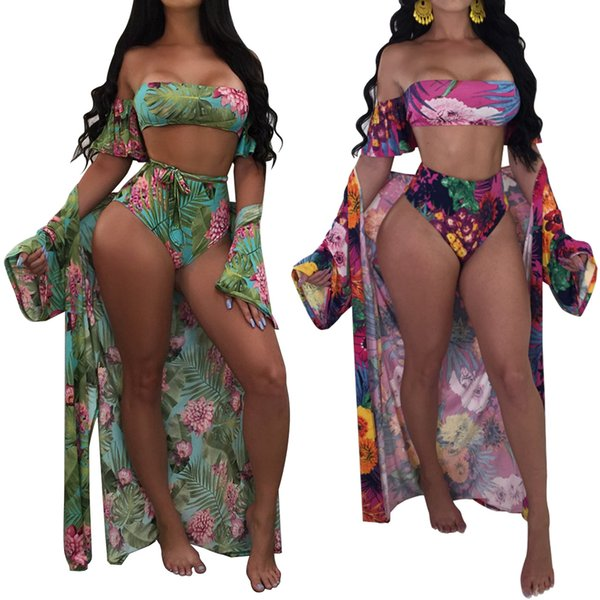 Women 2018 one piece Bathing suit Sexy Beach Wear Bikinis set Swimwear Plus Size Sling Swimsuit + Long Sleeve Beach Cover up sarong