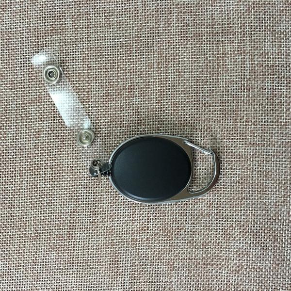 Schwarzer einziehbarer Pull Key Ring Kette Reel ID Lanyard Namensschild Kartenhalter Reel Recoil Gürtel Schlüsselanhänger Clip
