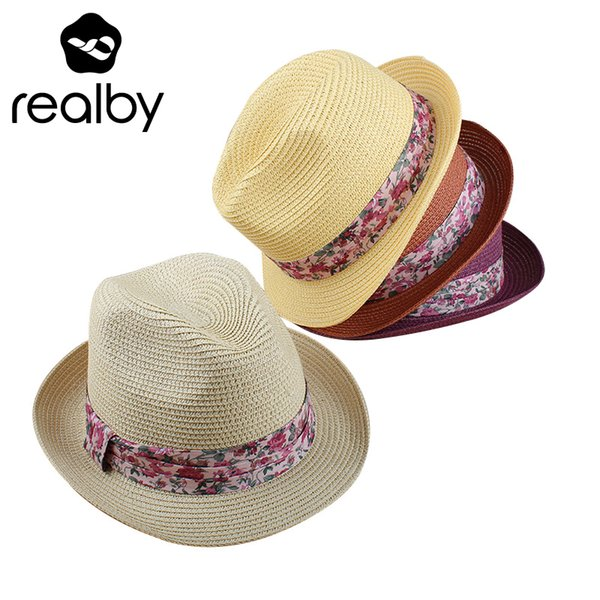 REALBY Lady Boater Sun Caps Ribbon Round Flat Top Straw Fedora Panama Hat Summer Hats For Women Straw Hat Snapback gorras 2018