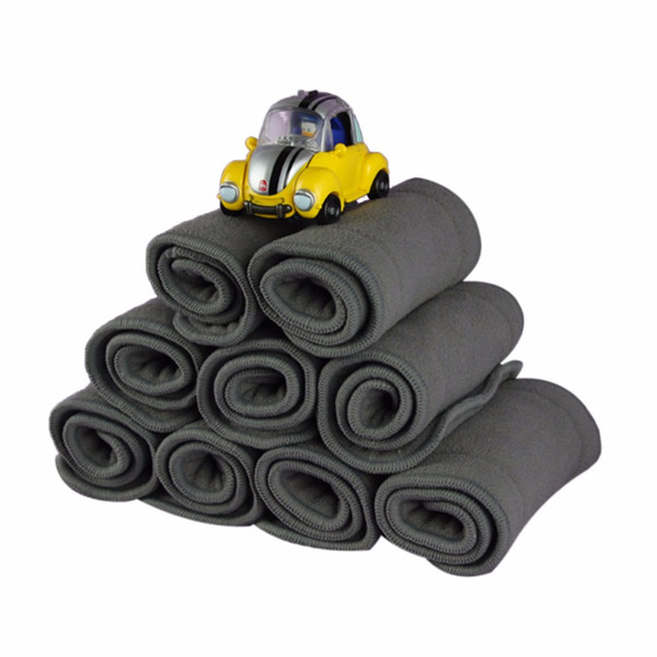 5pcs bébé couches de couches en tissu nouveau-né couches réutilisable charbon de bambou insère bébé couches 4 couches couches à séchage rapide pour bébé