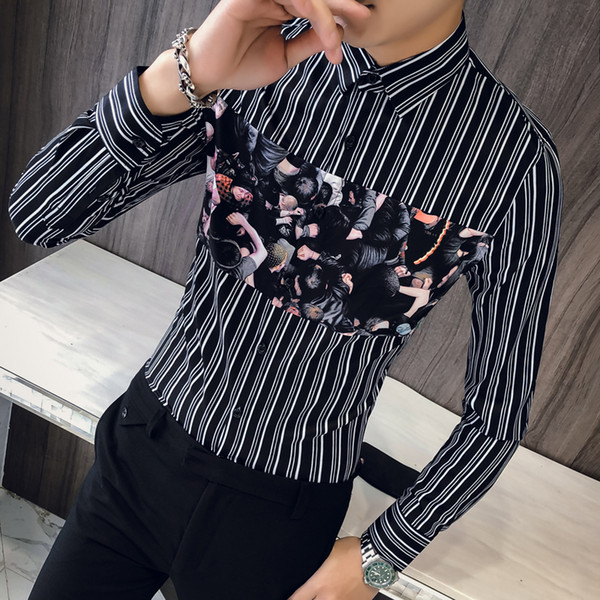 British Style Men Shirt Brand New Slim Fit Casual Striped Shirts Dress Men Clothes 2018 Long Sleeve Night Club Prom Tuxedo 3XL-M