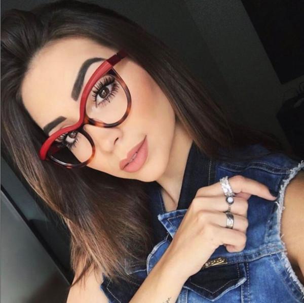 mejor autentico 268c3 6de3b Compre Moderno Negro Brillante Monturas De Gafas Mujer Diseñador Nerd Gafas  Miopía Lentes Claras 2018 Gafas De Moda Para Hombre Marcos De Gafas ...