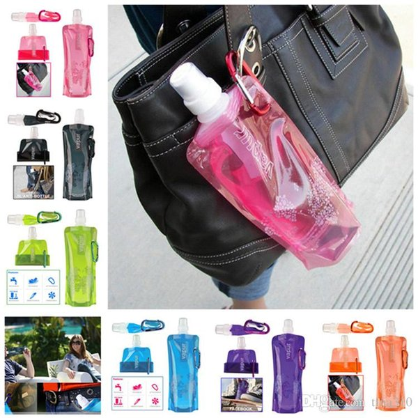 Portable folding water bag Outdoor drinking kettle Water Bottle Comes Flat, Foldable Water Bottle Collapsible 0.48 Litres IB041