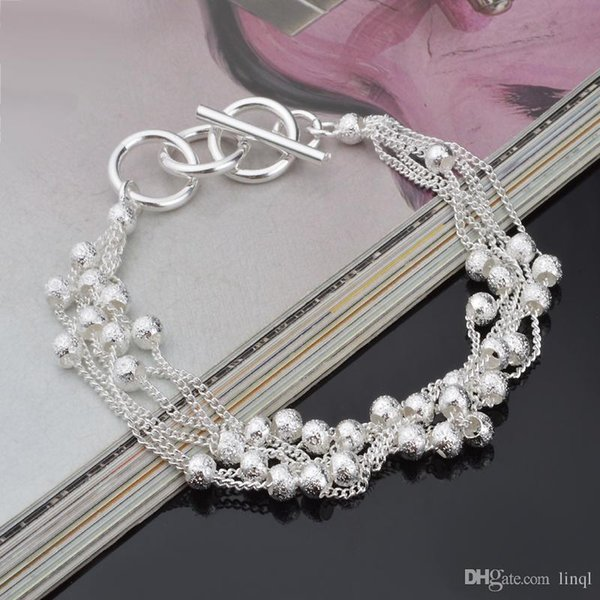 2017 High quality 925 sterling silver balls chain bracelet street style fashion jewelry Christmas gifts low price free shipping