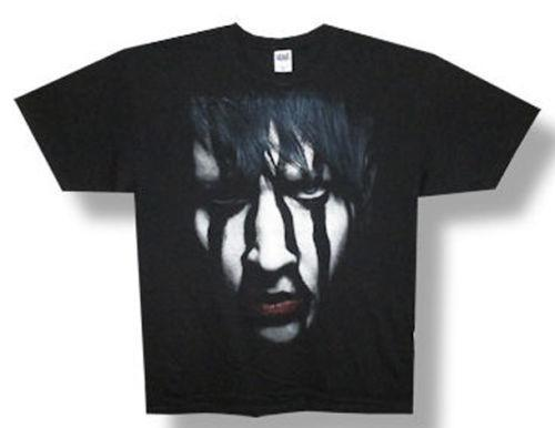 T-shirt Marilyn Manson-Striped Face-2012 Tour-Black