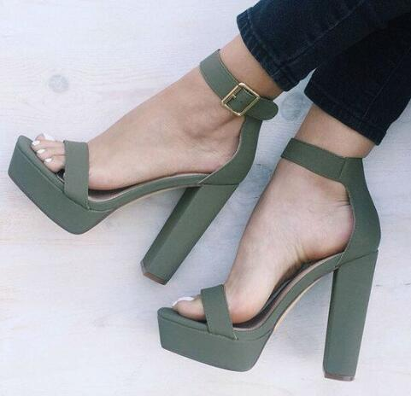 72b0a1dd0d Summer Style Block Heels Platform Shoes Woman Ankle Strap High Heels Women  Sandals Faux Suede Open
